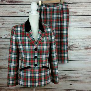 Pendleton Sz 8 Vintage Red/Green Plaid Skirt Suit